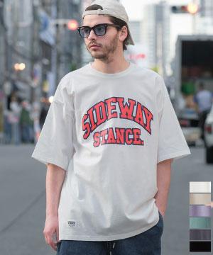 カレッジロゴ クラックプリント ビッグシルエット Tシャツ